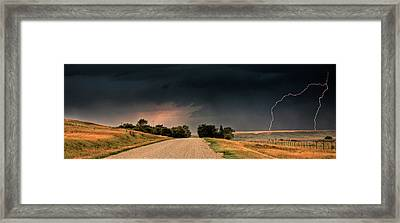 Panoramic Lightning Storm In The Prairie Framed Print