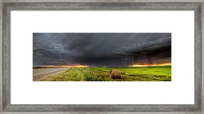 Panoramic Lightning Storm In The Prairies Framed Print