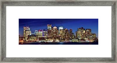 Panoramic Lights On A Boston Night Framed Print by Frozen in Time Fine Art Photography