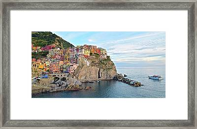 Framed Print featuring the photograph Panoramic Manarola Seascape by Frozen in Time Fine Art Photography