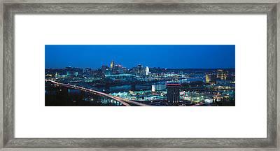 Panoramic Night Shot Of Cincinnati Framed Print