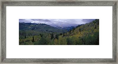 Panoramic Of Autumn Color With Storm Framed Print