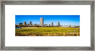 Panoramic Photo Of Milwaukee Skyline At Lakeshore State Park Framed Print