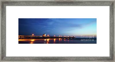 Panoramic Photo Of San Clemente Pier At Sunset Framed Print