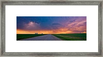 Panoramic Prairie Lightning Storm Framed Print