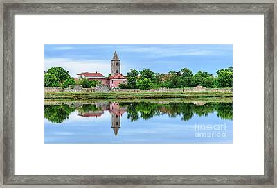 Panoramic Reflections Of Nin, Croatia Framed Print