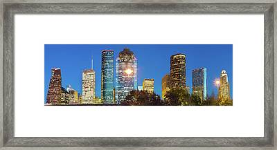 Panoramic Skyline Of Houston Texas Framed Print by Gregory Ballos