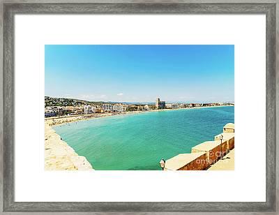 Panoramic Skyline View Of Peniscola City Beach Resort At Mediterranean Sea In Spain Framed Print by Radu Bercan