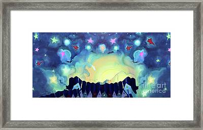 Panoramic Starry Sky Framed Print by Cathy Jacobs
