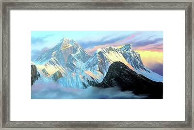 Panoramic Sunrise View Of Everest Mountain Framed Print