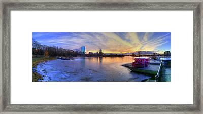 Panoramic Sunset Over The Boston Skyline Framed Print