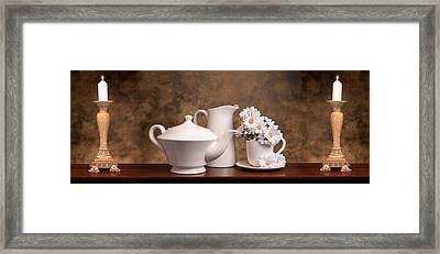 Panoramic Teapot With Daisies Framed Print