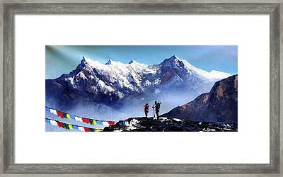 Panoramic View Of Ama Dablam Peak Everest Mountain Framed Print