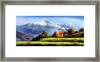 Panoramic View Of Beautiful Everest Mountain Framed Print