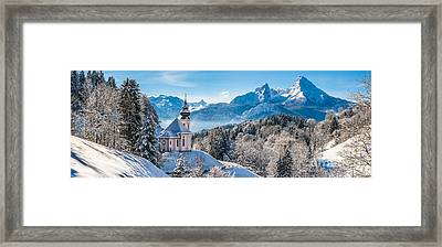 Snowy Church In The Bavarian Alps In Winter Framed Print by JR Photography