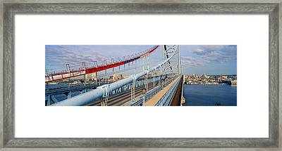 Panoramic View Of Ben Franklin Bridge Framed Print by Panoramic Images