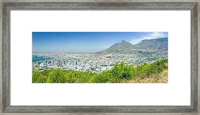Panoramic View Of Cape Town And Table Framed Print by Panoramic Images