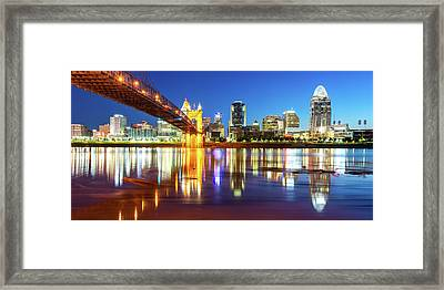 Framed Print featuring the photograph Panoramic View Of Cincinnati Ohio - Colorful City Skyline by Gregory Ballos
