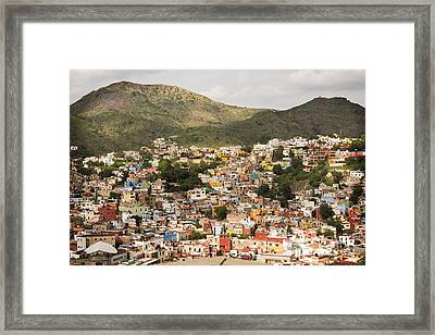 Panoramic View Of Colorful Hillside Homes In Guanajuato Mexico Framed Print