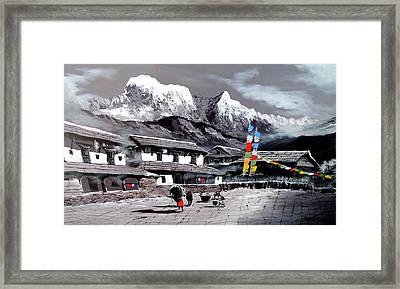 Panoramic View Of Everest Base Camp Framed Print