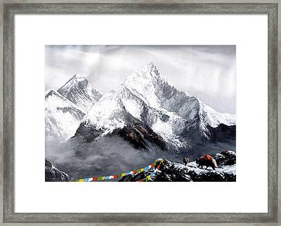 Panoramic View Of Everest Mountain Framed Print