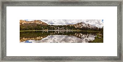Panoramic View Of Fourth Of July Lake In Stanley Idaho Framed Print