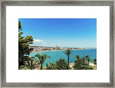 Panoramic View Of Peniscola City Holiday Beach Resort At Mediterranean Sea In Spain Framed Print by Radu Bercan