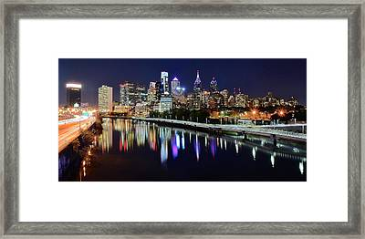 Panoramic View Of Philly Framed Print by Frozen in Time Fine Art Photography