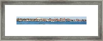 Panoramic View Of Portland Harbor Boats Framed Print by Panoramic Images