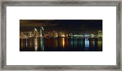 Panoramic View Of San Diego At Night Framed Print by George Oze