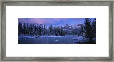 Panoramic View Of Snowcapped Trees Framed Print