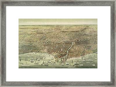 Panoramic View Of The City Of Chicago Framed Print by American School