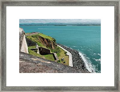 Panoramic View Of The Coastline From El Morro Fortress, San Juan, Puerto Rico Framed Print