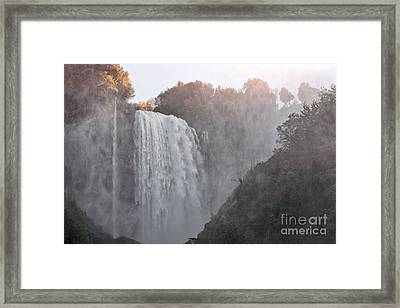 Panoramic View Of The Marmore Waterfalls Framed Print by Luigi Morbidelli