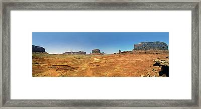 Panoramic View Of The Monument Valley  Framed Print by George Oze