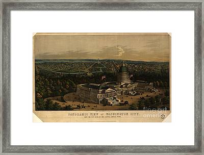 Panoramic View Of Washington City From The New Dome Of The Capitol Framed Print
