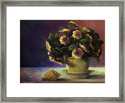 Pansies And Celadon Framed Print by Ruth Stromswold