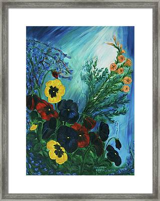 Pansies And Poise Framed Print by Jennifer Christenson