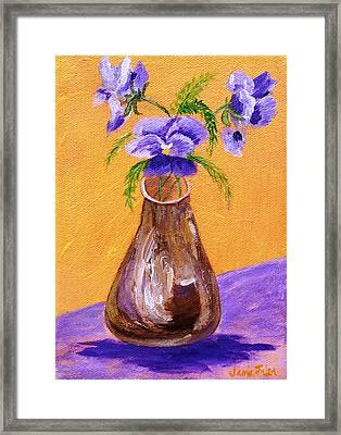Pansies In Brown Vase Framed Print