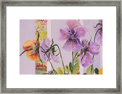 Pansies On My Porch Framed Print by Mary Ellen Mueller Legault