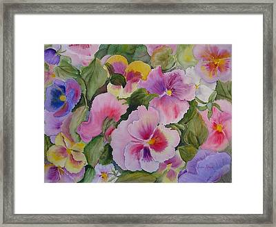 Pansies Too Framed Print by Vivian Larson