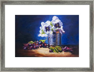 Pansy And Grapes Framed Print by David Gorski