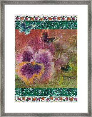 Pansy Butterfly Asianesque Border Framed Print