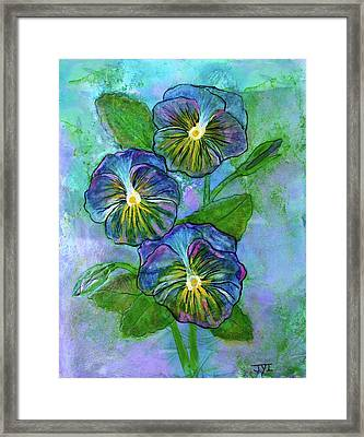 Pansy On Water Framed Print by Janet Immordino