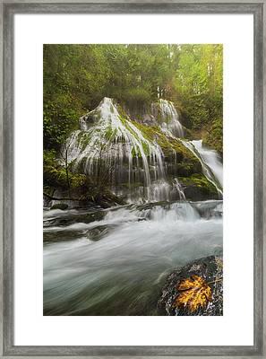 Panther Creek Falls In Fall Season Framed Print