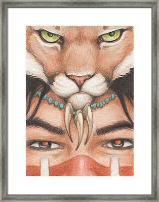 Panther Warrior Framed Print by Amy S Turner