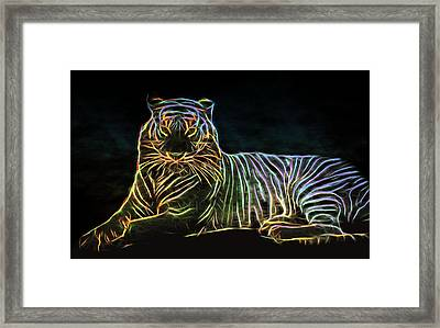 Framed Print featuring the digital art Panthera Tigris by Aaron Berg