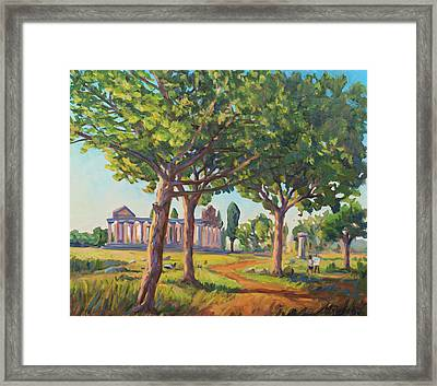 Panting The Old Temples Framed Print