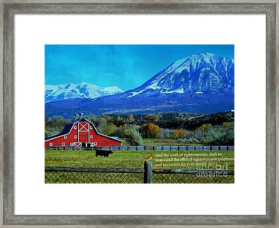 Paonia Mountain And Barn Framed Print by Annie Gibbons