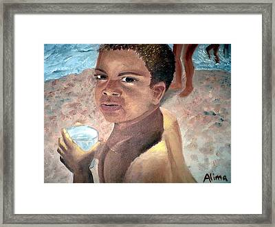 Papa At The Beach Framed Print by Alima Newton